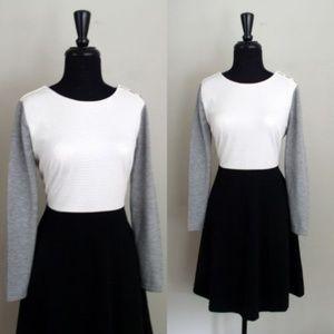 Ann Taylor LOFT Colorblock Fit & Flare Dress Sz 10